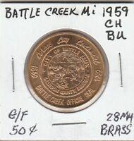 *(P)  Token - Battle Creek, MI - 1959 CH BU - G/F 50 Cents - 28 MM Brass