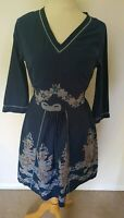 Joe Brown's Dress Size 10 . Blue elasticated waist white floral pattern v neck