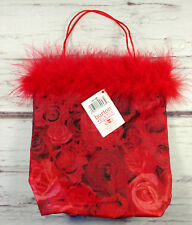 "Lot of 25 Red Rose Valentine Gift Bags Red Fur 7"" x 7"" Burton More Amour NWT"