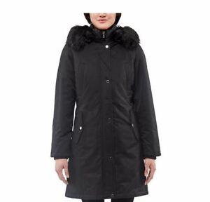 1 Madison Expedition Ladies Parka Coat With Bib Black Fur Trim M Medium NEW