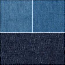 Lightweight Washed Plain 4oz Denim 100% Cotton Fabric Material 145cm