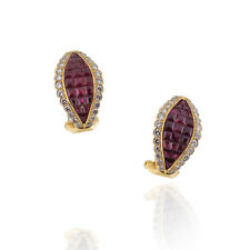 Handmade Vintage 18kt Yellow Gold Ruby & Diamond Earrings