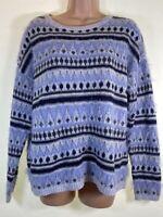 SPRINGFIELD grey blue sparkly knit festive nordic fairisle jumper size L 14 42