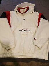 ATLANTA FALCONS Starter Hooded Half Zip Pullover Jacket 2X WHITE