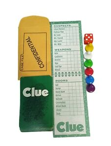1998 Clue Game Replacement Pieces Playing Cards Score Pads Pawns Die Envelope