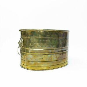 Vintage Brass Dimpled Oval Planter Pot Window Plant Box Lion Head Handles