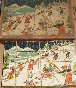 Vintage Jigsaw Puzzle Wooden 24 Block Cube Pictures Six Images Children Playing