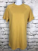 NWT Forever 21 Mustard Yellow Sweatshirt Tunic Knit Dress Juniors Size Large