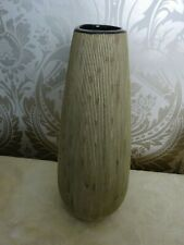 Modern Ceramic Pottery Rib Wood Effect Teardrop Vase 34cm Tall