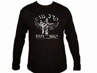 Martial Arts Israel Krav Maga emblem distressed look MMA sleeved black t-shirt