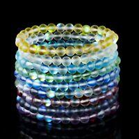Natural Moonstone Bracelet Frosted Gemstone Women Elastic Beads Bangle Jewellery