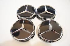 Mercedes Benz Center Caps 4x Gloss Black/Chrome 3 Inch/75mm Fits Most Models
