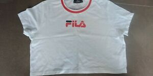 Fila Logo Women White Crop  T-Shirt .Brand New. Size 14