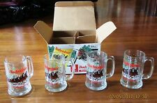 Vintage 1989 Budweiser Clydesdale Holiday Glass 15oz Mug Set of 4 New in Box 168