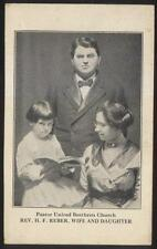 POSTCARD DAYTON OH/OHIO UNITED BRETHERN CHURCH PASTOR H.F. REBER & FAMILY 1910'S