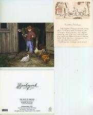 VINTAGE FOLK FARM SMOKE HOUSE CORNBREAD RECIPE PRINT 1 CHICKEN COW FARM ART CARD