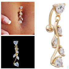Sparkling Reverse Belly Ring Dangle Clear Navel Bar Gold Body Jewelry Piercing