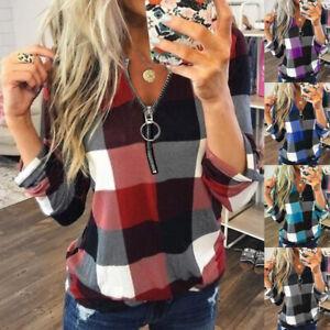 UK Womens Ladies Autumn Pullover Zipper Long Sleeve Blouse Plaid Tee Basic Tops