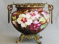 "19th C. BRONZE MOUNTED FRENCH PORCELAIN JARDINIERE ""HOURY"" SIGNED G. LEMONNIER"