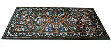 5'x2.5' Marble Center Dining Hall Side Table Top Rare Marquetry Inlay Home Deco