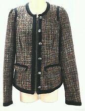 FREE PEOPLE Long Sleeve Tweed Jacket w/Black Trim Purple, Pink, Peach Size 6