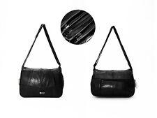 WOMEN'S BLACK SOFT LEATHER HANDBAG SHOULDER BAG ORGANISER 3 ZIPPED COMPARTMENTS