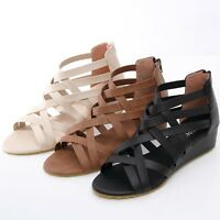 BN Summer Strappy Ankle Strap Gladiator Wedge Platform Sandals BLACK BROWN BEIGE