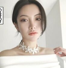 Fashion Elegant White Flower Lace Pearl Summer Party Beach Necklace Choker