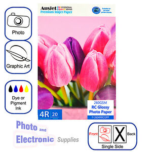 4x6 / 4R Gloss RC (resin coated) Inkjet Photo Paper 260gsm (20 Sheets), Glossy