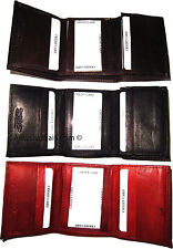 New man's leather trifold wallet 8 credit Debit ATM card holder 2 ID windows bn