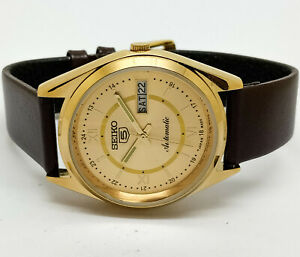 seiko 5 automatic men's gold plated golden dial day/date vintage japan watch