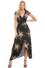 Central Chic Long Maxi Wrap Dress Evening Wedding Casual Holiday Dress S,M,L,XL