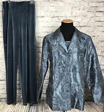 Susan Graver Women's Velour Sequin Embroidered Pant Jacket Tank Top Set Suit S