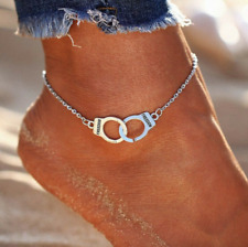 SILVER HANDCUFF FREEDOM ANKLET ANKLE BRACELET JEWELLERY GIFTS NEW
