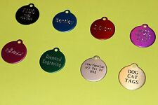 PET TAGS CIRCLE (2.0 CM) ID DOG TAG CUSTOM DIAMOND ENGRAVED 2-SIDED PERSONALIZED