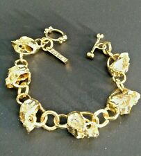 Gold Metal Skull Bracelet Rock Gothic Punk Biker Jewelry Blac Label 1968 NEW