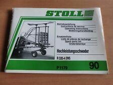 Elenco di parti di ricambio manuale di istruzioni montaggio Stoll hochleistungsschwader R 335-4dvs