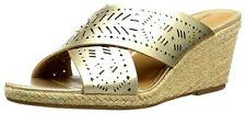 Lucky Brand Womens Keela Wedge Sandal 7.5 Platnium Bronze Metallic