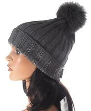 NEW MONCLER RICH GRAY VIRGIN WOOL EMBROIDERED FOX FUR POM-POM BEANIE HAT