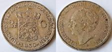 NETHERLANDS 1930 2 1/2 GULDEN WILHELMINA .720 SILVER COIN