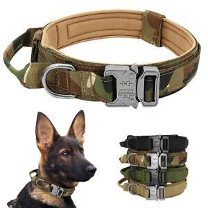 Adjustable Tactical Dog Collar Military Nylon Heavy Duty Metal Buckle & Handle
