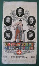 RARE Stevengraph style silk picture PRO HELVETIA 1914-1916 Switzerland WWI