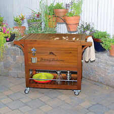 Tommy Bahama 100QT Wood Rooling Patio Garden Cooler, NO TAX