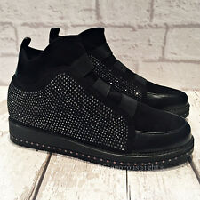 Ladies Black HI Top Diamante Sparkly Flat wedge Trainers Casual Shoes boots