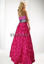 GRACEFUL STRAPLESS BEADED PINK & ZEBRA FORMAL/EVENING/BALL ROSE SKIRT; AU14/US12