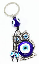 Blue Evil Eye Owl Keychain Blessing Protection Religious Charm Gift US Seller
