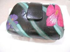 Genuine Frog Skin Clam Clutch Bag with opt strap Floral/Black