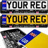 GB Union Jack badge pair Standard Pressed Number Plates Metal Car REG Road Legal