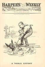 Political Cartoon, Democratic Donkey, A Noble Effort, Vintage 1904 Antique Print