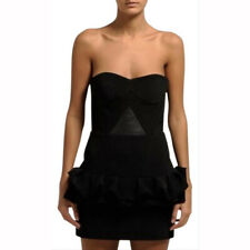 Maje $635 Licorne Dress Strapless Bustier Leather Modern Sculptural XS 36